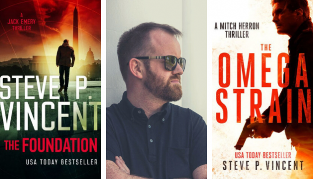 Two book covers with author headshot